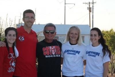 Lt to Rt - Dani DeWitt, Head Coach Chris Azanger, Asst. Coach Richard Azanger, Willow Zimmerman, Taylor DeWitt.