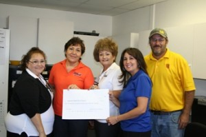 Copper Resource Contracting presents a donation to the Superior Head Start Program. Pictured are Teresa Gonzales (teaching assistant), Hilda Cardenas (Site Manager), Teresita Olmos (teacher), Mike Lechner and Alicia DalMolin (CRC). (James Carnes photo)