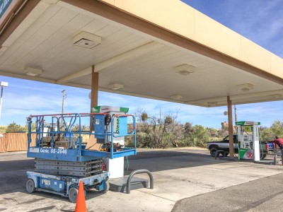 New LED light fixtures finally being installed at the Circle K in Oracle Wednesday, March 2. The Oracle Dark Skies Committee is happy that the Circle K management accommodated their request for the new lighting fixtures, in spite of the businesses being grandfathered in.
