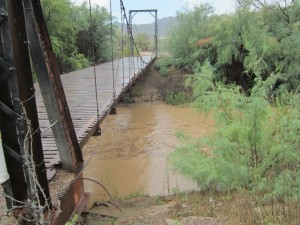 Water was once again flowing in the Gila River last week after a series of storms hit the Copper Basin area. Streets are roadways were flooded and debris was scattered everywhere.