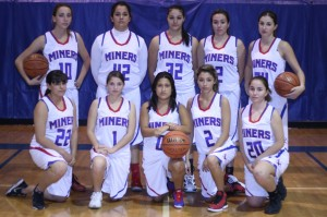 Lady Miners basketball preview cut line: Varsity Lady Miners hitting the court for the 2012 - 2013 season are (back row L-R) Analisa Robles, Maximilliana Lara, Angelica Zuniga, Asha Quintero, and Kadi Monfred; (bottom row L-R) Felicia Gomez, Alexis Garibay, Nicole Predgo, Cierra Austin, Leticia Reidhead. (not pictured Ana Zuniga)