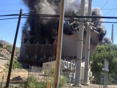 Smoke billows from the crusher building at the ASARCO complex in Hayden. Photo courtesy of Lillian Rabago-Campos