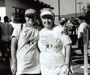 SBCO co-founders Harriet Schultz (left) and Dorothy Steffano celebrate the 1998 Walkathon Event. The first Walkathon was held in 1997.