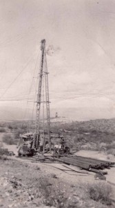 Walter's drilling rig, looking east at No. 2. Shaft, circa 1949.