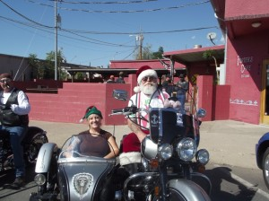 The Independent Riders a regional motorcycle group left Porters Café on Saturday for their annual Toy Run. Dozens of shiny, colorful motorcycles rode off towards Globe as part of their ride; many of the riders wore Santa hats and other holiday wear. Each year the participating riders all bring toys and monetary donations to help provide needy children in the Copper Corridor gifts at Christmas.
