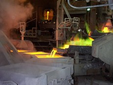 Above are photos of the smelting process at the Asarco Hayden Smelter. Molten copper is poured into forms and anodes are the end product. (Photos courtesy of Bill Loehr of Asarco.)