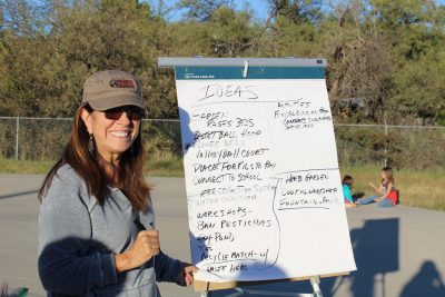Volunteer Alicia Bristow writes ideas for the community garden in Oracle Arizona.