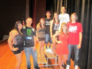 RHS Homecoming Royalty this year includes, l to r, Ashley Meza and Rexx Sosa, Junior Attendants; Taylor Day and Jacob Pace, Sophomore Attendants; Sarah Dunklee and Austin Huffman, Freshmen Attendants; and Harmony Woomwood and Eric Goodwin, Queen and King.